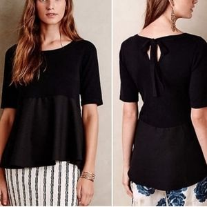 Anthropologie- Moth Meri Skirted Black Peplum Top